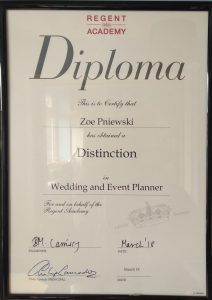 Certificate Wedding and Event Planning