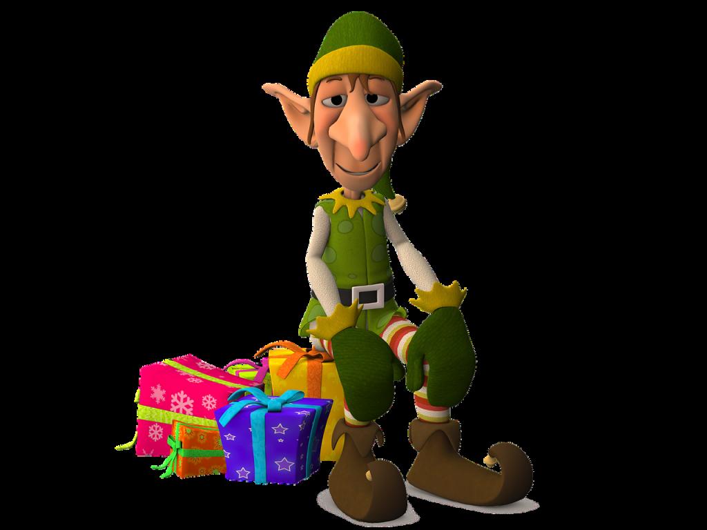Elf sitting on a present