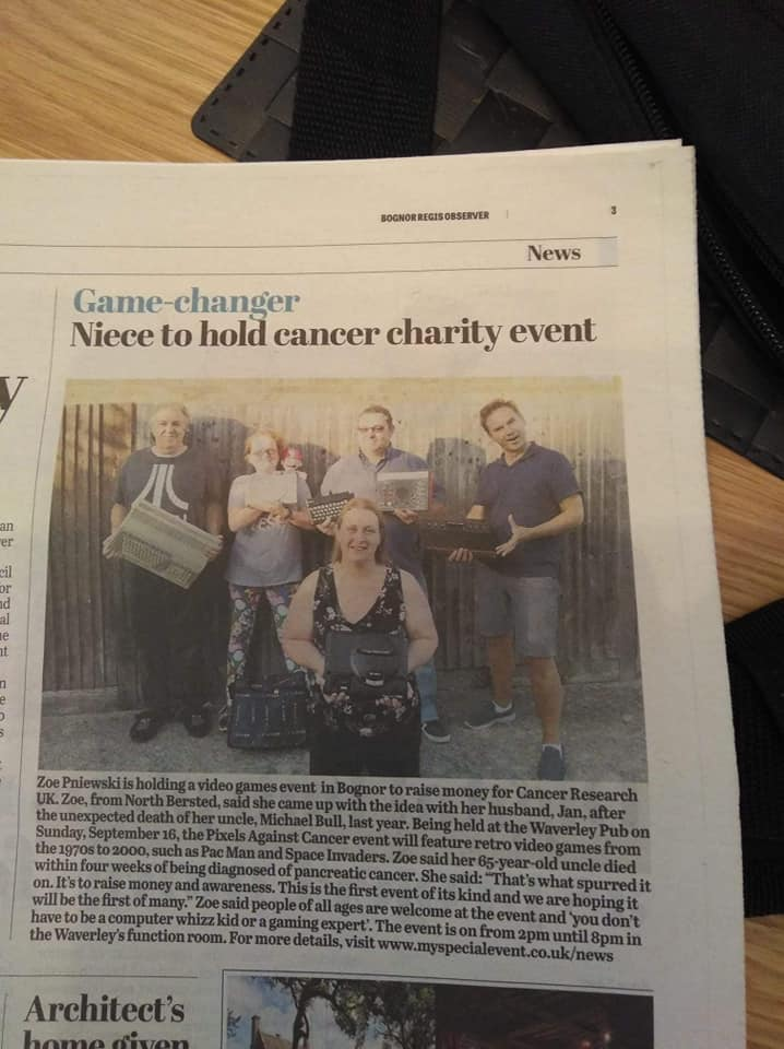 Retro Video Gaming Pixels Against Cancer made it into the local paper