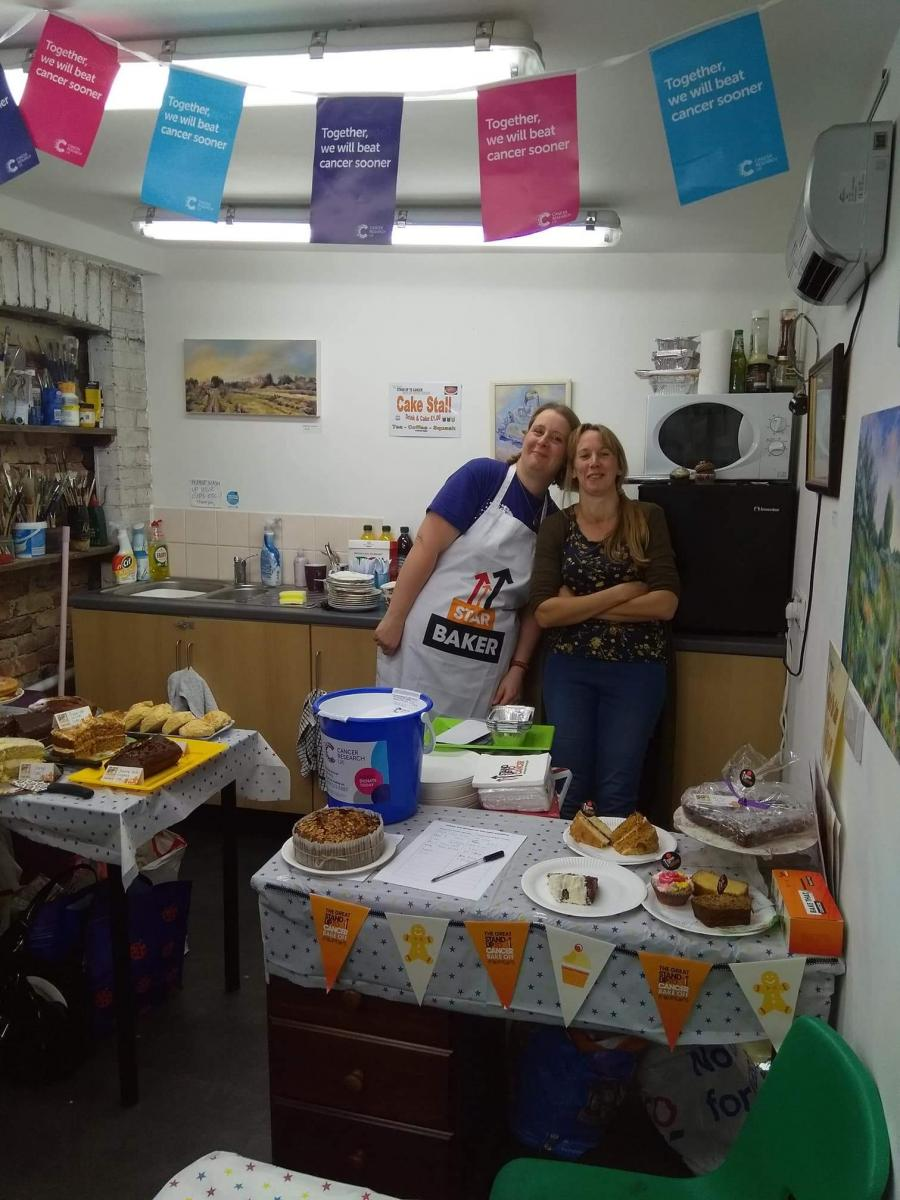 Zoe and Sandra at Stand UP to Cancer Bake Off