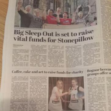 Our Stand UP to Cancer Article in Bognor Observer